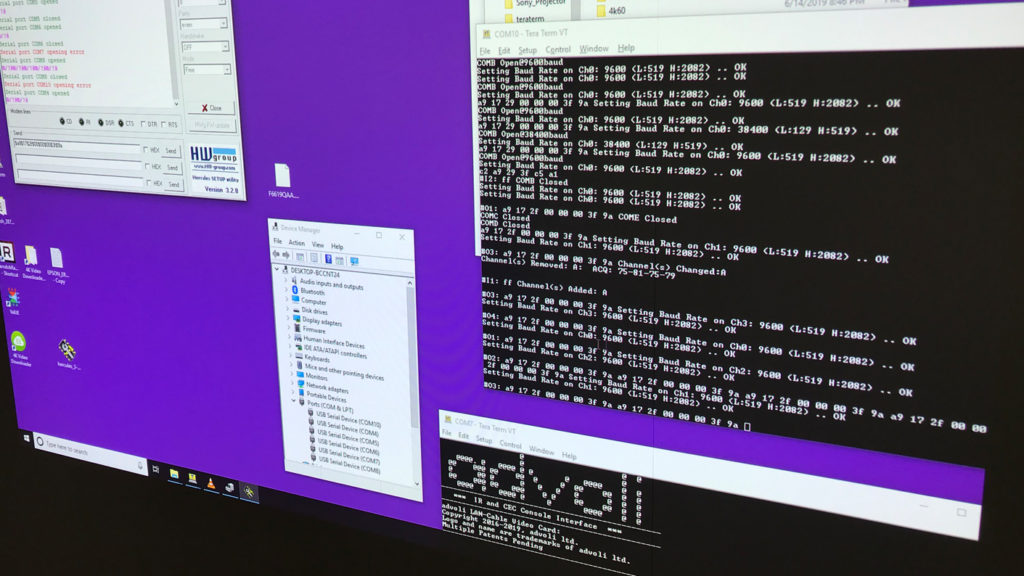 Testing UART of Sony projectors with advoli video cards