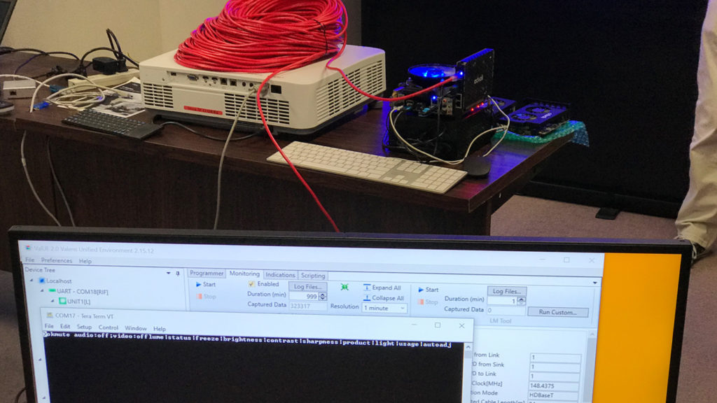 Testing UART controls of NEC Display with advoli TC1 Extreme and NEC HDBaseT OPS over 100 meters CAT cable