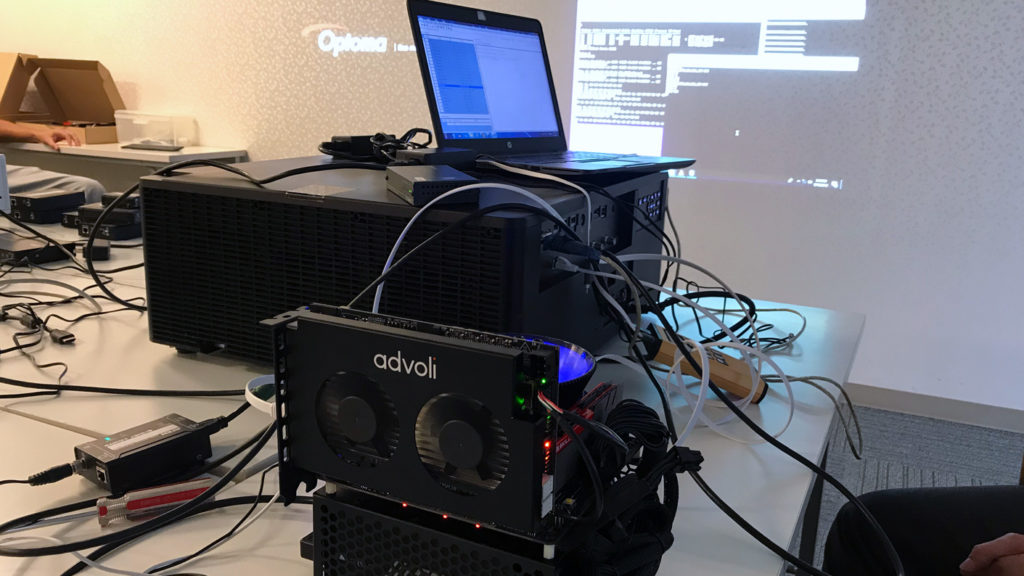 Test bench isn't always pretty and clean. Here testing TB6 Standard with Optoma high-end projector.