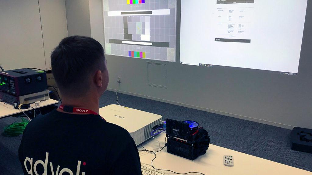 Clas of advoli testing IP controls of Sony projectors using advoli TC1 Extreme